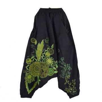 Sarouel Femme Ethnique Bhujari Broderie Floral Vert