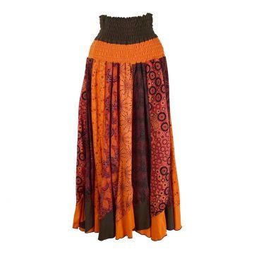 Jupe Kadipur Maille Coton Imprimée Orange