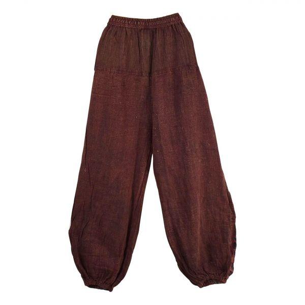 Pantalon Kowra Coton Délavé Bordeaux