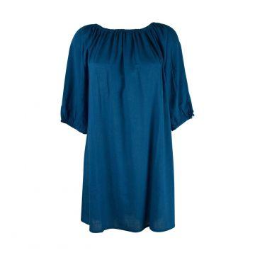 Robe Courte Marda Fluide Unie Bleu