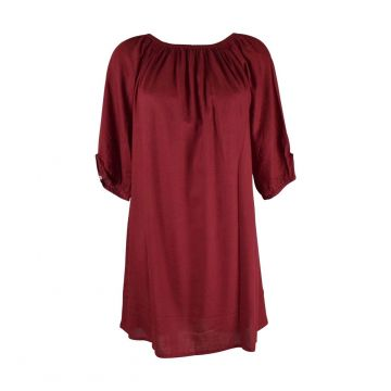 Robe Courte Marda Fluide Unie Bordeaux