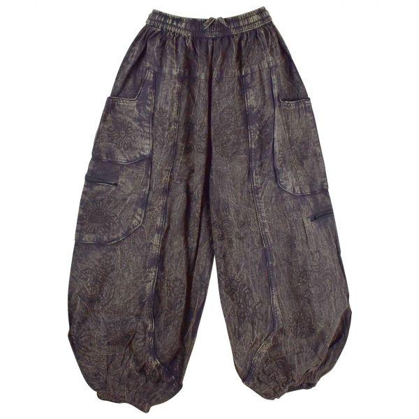 Pantalon Homme Dharan Stonewash Imprimé Ethnique Noir