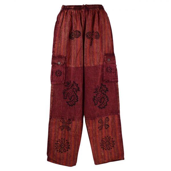Pantalon Homme Tangla Stonewash Coton Bordeaux