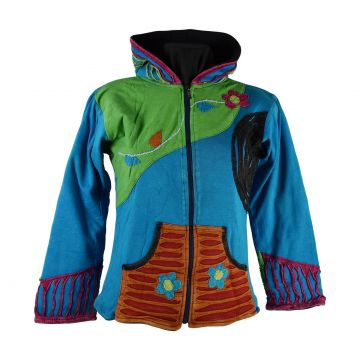 Sweater Mokie Jersey Délavé Turquoise Et Polaire