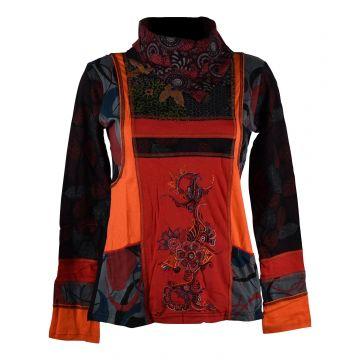 Tee-Shirt Ethnique Sitla Femme Col Montant