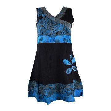 Robe Courte Jamti Imprimé Floral Bleu
