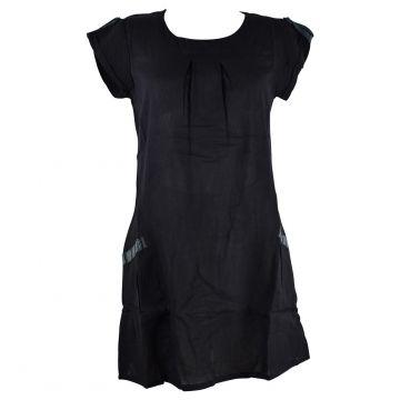 Robe Courte Jabra Coton Khadi Uni Noir