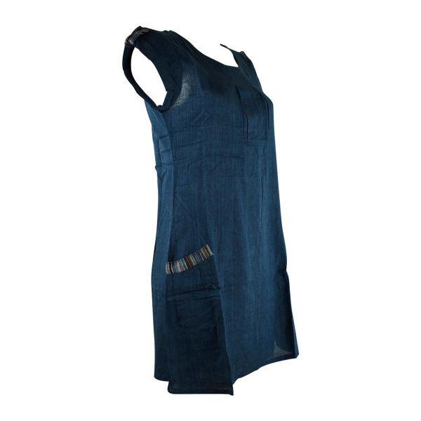 Robe Courte Jabra Coton Khadi Uni Petrole