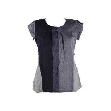 Blouse Coton Artisanal Kedhary Noir et Gris