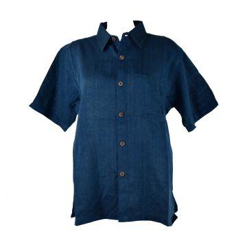 Chemisette Homme Chatra Coton Artisanal Bleu