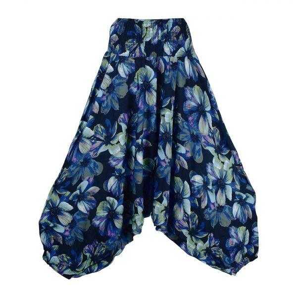 Sarouel Trois en Un Hisua Imprimé Floral Bleu