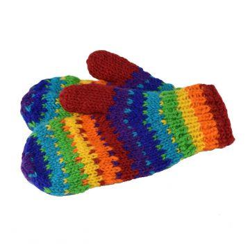 Moufle Khudi Laine Tricotée Multicolore et Polaire