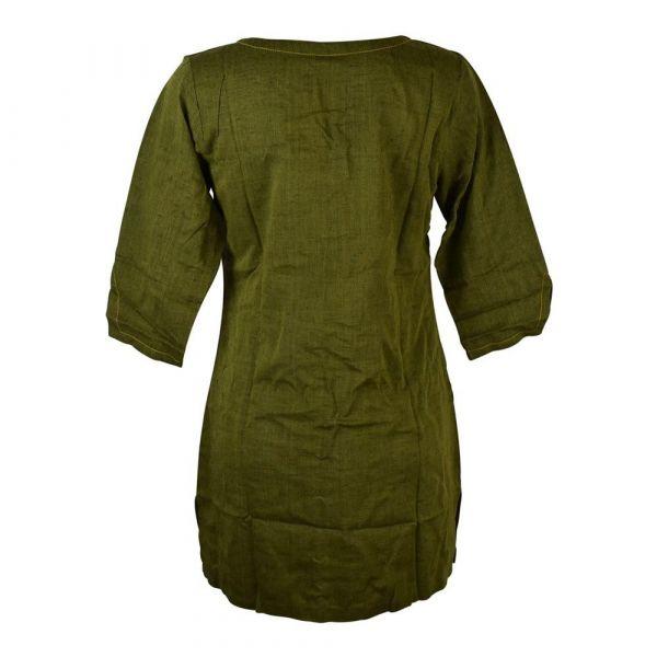 Tunique Khadi Coton Artisanal Vert Foncé