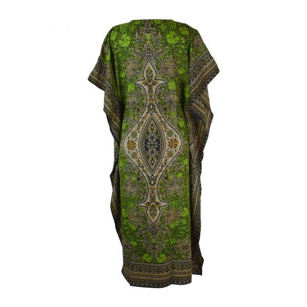 Caftan Long Vert Anis Motif Oriental