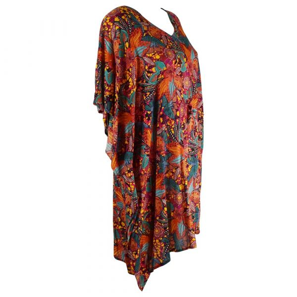 Robe Caftan Viscose Imprimé Floral Rouge