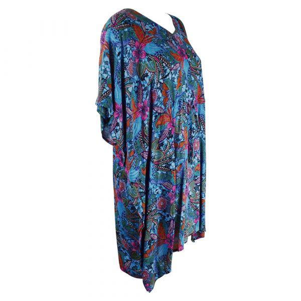 Robe Caftan Viscose Imprimé Floral Bleu