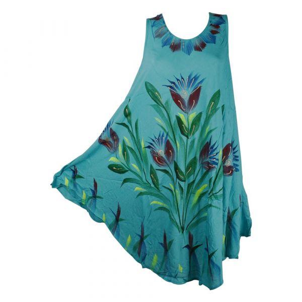 Robe Évasée Rengali Peint Motif Floral